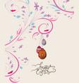 easter eggs doodle florals vintage background vector image vector image