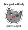 fashion patch element grey cat vector image vector image
