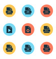 file icons set with database doc zip and other vector image vector image
