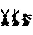 funny rabbit black isolated silhouette on white vector image