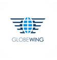 globe wing emblem logo vector image vector image