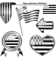 Glossy icons with Brittany flag vector image