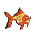golden fish cartoon drawing vector image