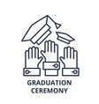 graduation ceremony line icon concept graduation vector image vector image