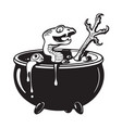 halloween witches cauldron with potion serpent vector image