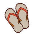 hand colored drawing of beach flip-flops vector image