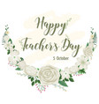 happy teachers day logo with floral theme vector image vector image