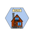 house for sale line icon for web mobile vector image vector image