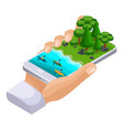 isometric concept of outdoor recreation shore of vector image
