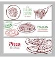 italian restaurant horizontal banners vector image vector image
