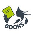 logo girl reading a book vector image