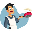 male home cook failing to flip pancakes vector image