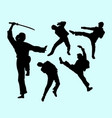 martial art male and female action silhouette vector image vector image