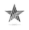 Metal star with arrows design element on white vector image vector image