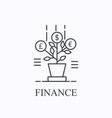 money tree thin line icon finance concept vector image vector image