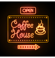 Neon sign Coffee house vector image