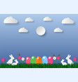 paper art style easter holiday background with vector image