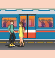people in the subway background vector image vector image