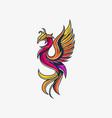 phoenix line design template vector image vector image