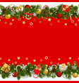 pine christmas background with garland vector image vector image