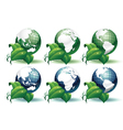 planet earth with leaves different views vector image vector image