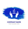 plant in hand icon - blue watercolor background vector image