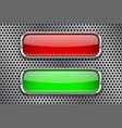 red and green glass buttons with metal frame on vector image vector image