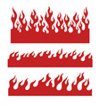 red flame elements for endless border vector image vector image