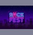 rock fest logo in neon style rock festival neon vector image vector image