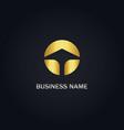 round arrow up gold logo vector image