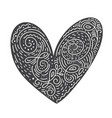 scandinavian folk handwritten heart black - vector image