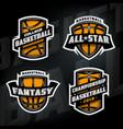 set basketball sports logos vector image vector image