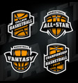 set of basketball sports logos vector image vector image