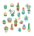 set of cactus and succulent icons isolated on vector image