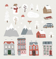 set of cute christmas landscape town and village vector image