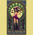 sexy witch and full moon art nouveau greeting vector image vector image