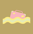 suitcase in the ocean island in the ocean vector image