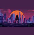 superheroine in futuristic city 2 vector image vector image
