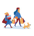 two girls and a dog going home from shopping vector image vector image