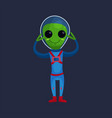 smiling green alien with big eyes wearing blue vector image