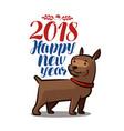 2018 happy new year animal dog doggie pet vector image