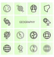 14 geography icons vector image vector image