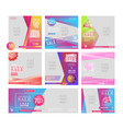 8 social media sale banner collection pack vector image