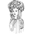 a girl in a stylized national ukrainian costume vector image vector image