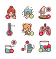 avoid and prevent spread covid19 icons line and vector image vector image