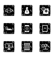 Bank and money icons set grunge style vector image vector image