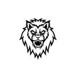 black lion head isolated white background vector image vector image