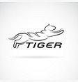 black tiger design on white background wild vector image vector image