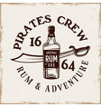 bottle rum and saber pirate emblem in vector image vector image
