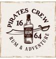 bottle rum and saber pirate emblem vector image vector image